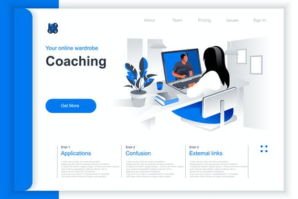 Isometric Coaching Perspective Flat Concept