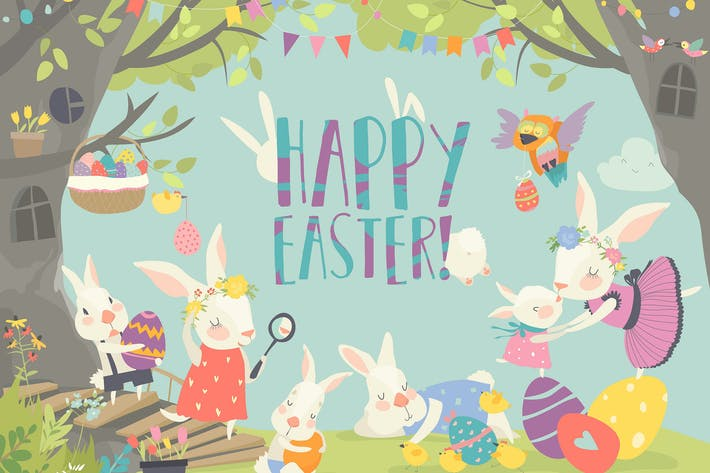 Thumbnail for Happy bunnies celebrating Easter. Vector illustrat