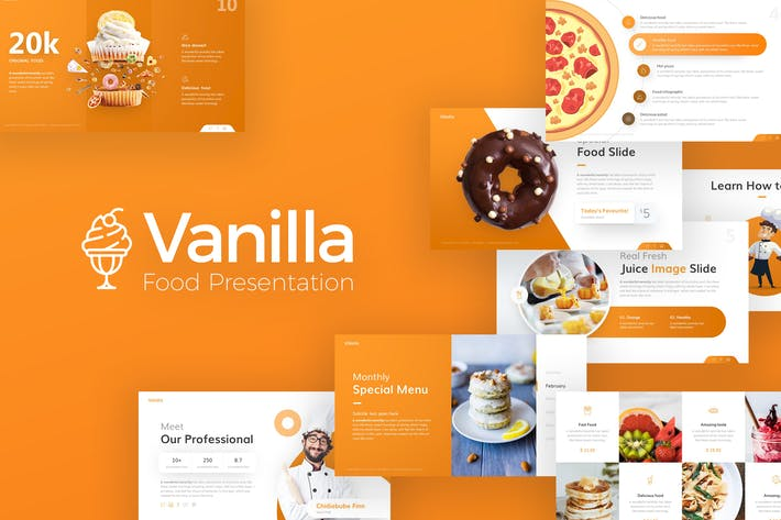 Thumbnail for Vanilla Food and Culinary PowerPoint Template