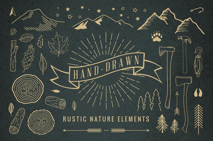 Thumbnail for Hand-Drawn Rustic Nature Elements