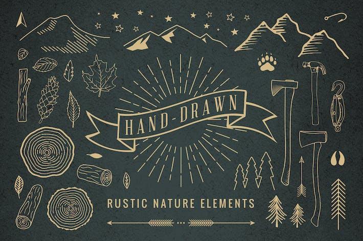 Thumbnail for Elementos Naturaleza rústicos dibujados a mano.