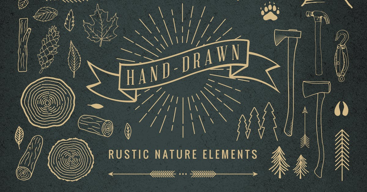 Download Hand-Drawn Rustic Nature Elements by adrianpelletier