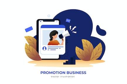 Ilustración de vectores de negocio de promoción