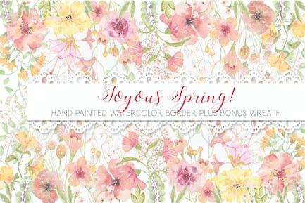Border of Joyful Spring Blooms