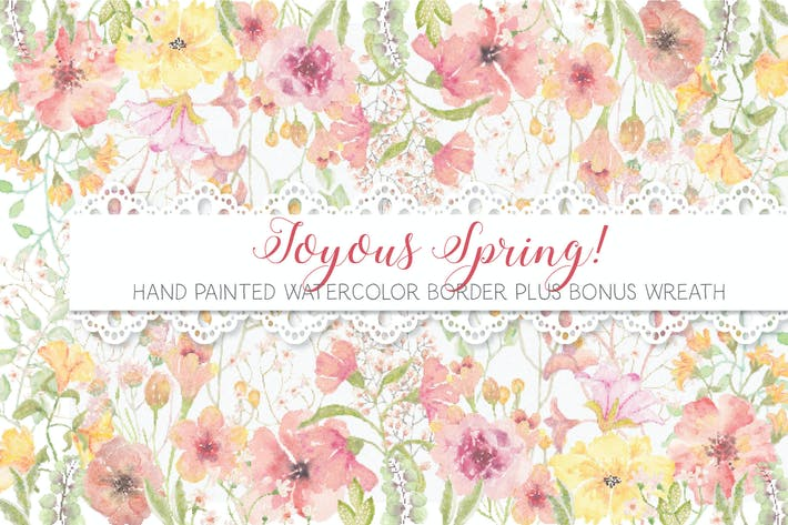 Cover Image For Border of Joyful Spring Blooms
