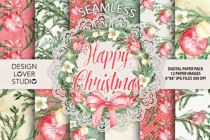 "Thumbnail for Watercolor ""Happy Christmas"" digital papers"