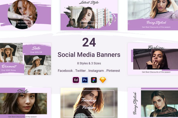Thumbnail for 24 Social Media Banners Kit (Vol. 2)