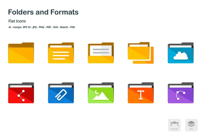 Thumbnail for Folders and Formats Flat Colored Icons