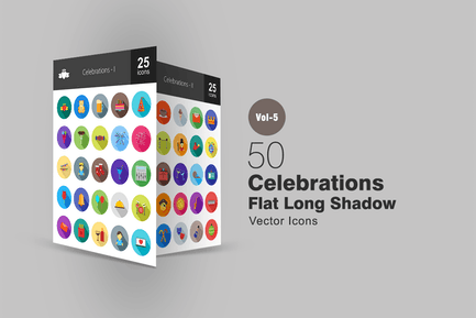 50 Celebrations Flat Shadowed Icons