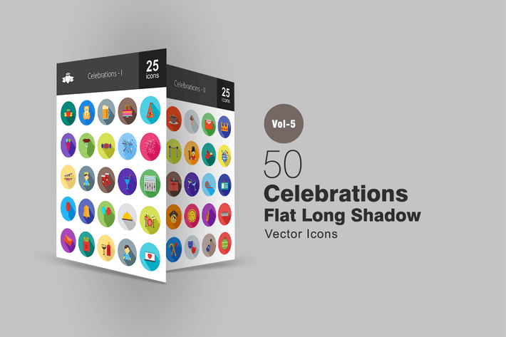 Thumbnail for 50 Celebrations Flat Shadowed Icons