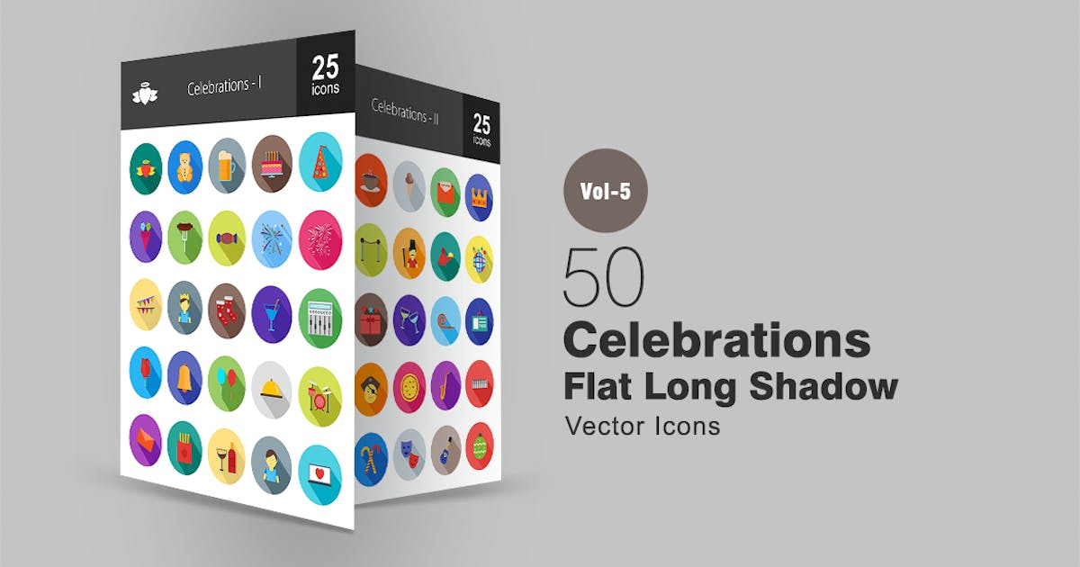 Download 50 Celebrations Flat Shadowed Icons by Unknow