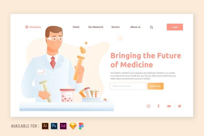 Scientist and Medicine - Web Illustration
