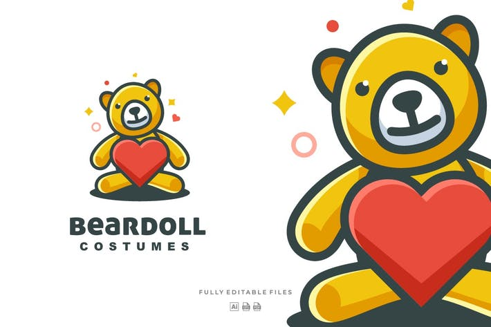 Thumbnail for Simple Modern Bear Doll Logo