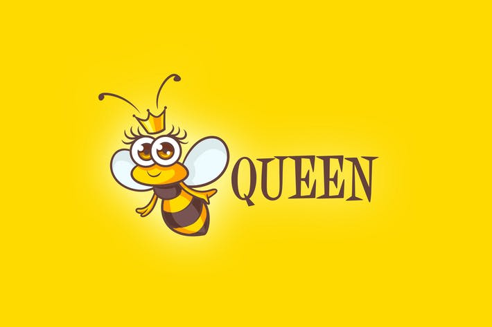 Thumbnail for Cartoon Queen Bee Mascot Logo