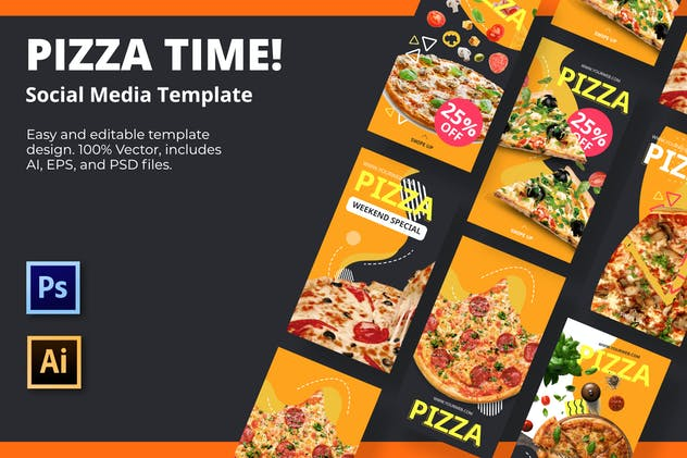 Pizza Time Social Media Template - product preview 0
