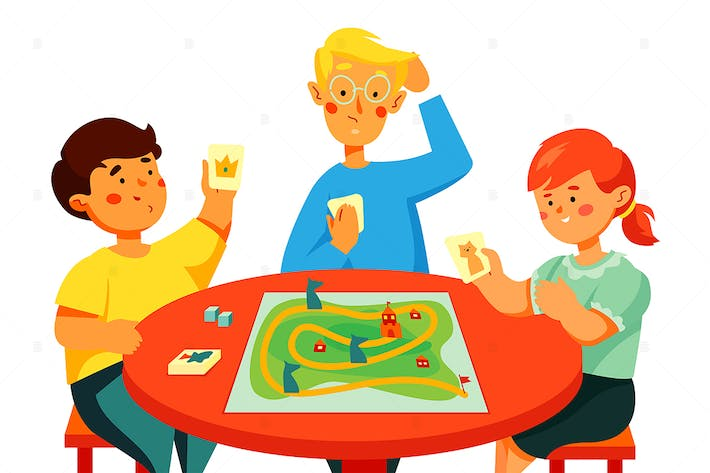 Thumbnail for Children playing a board game - flat illustration