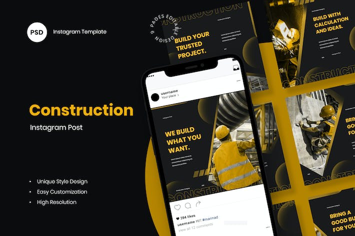 Thumbnail for Construction Instagram Post Template