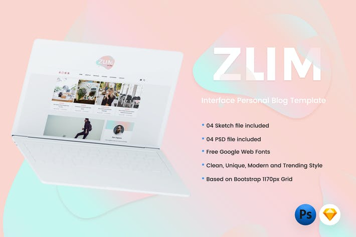 Thumbnail for ZUM - Interface Blog PSD & Sketch Template