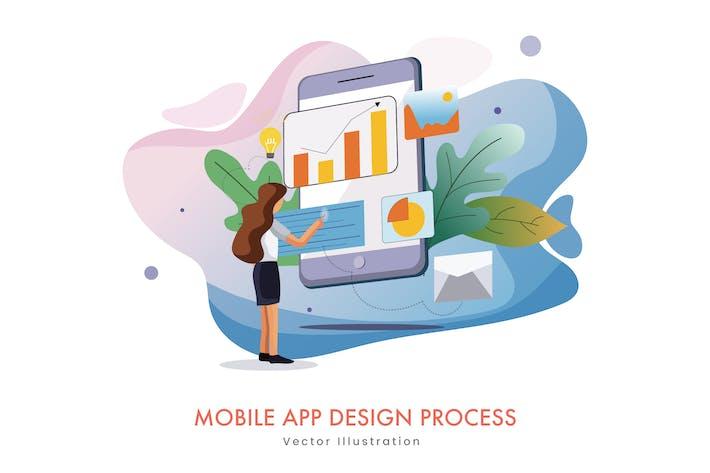 Thumbnail for Processus de conception d'Appli mobile Illustration Vecteur