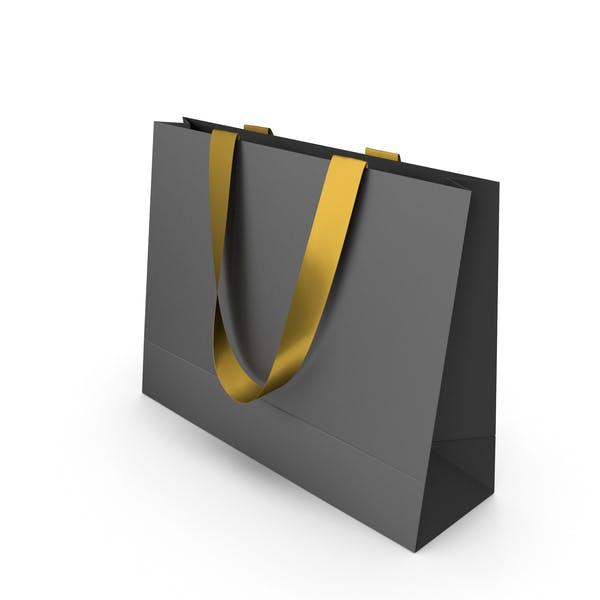 Черная бумажная сумка с золотыми ручками