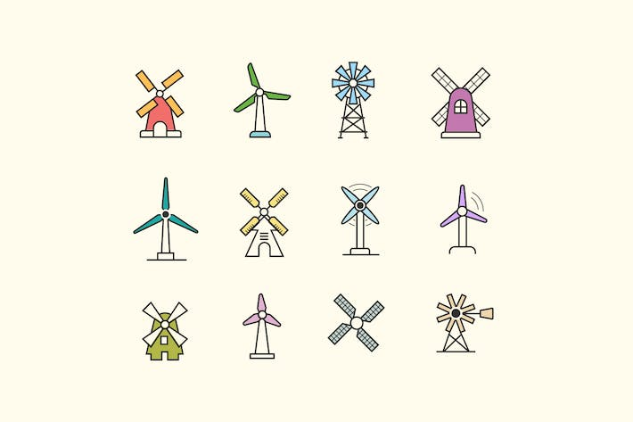 Thumbnail for 12 Windmill Icons