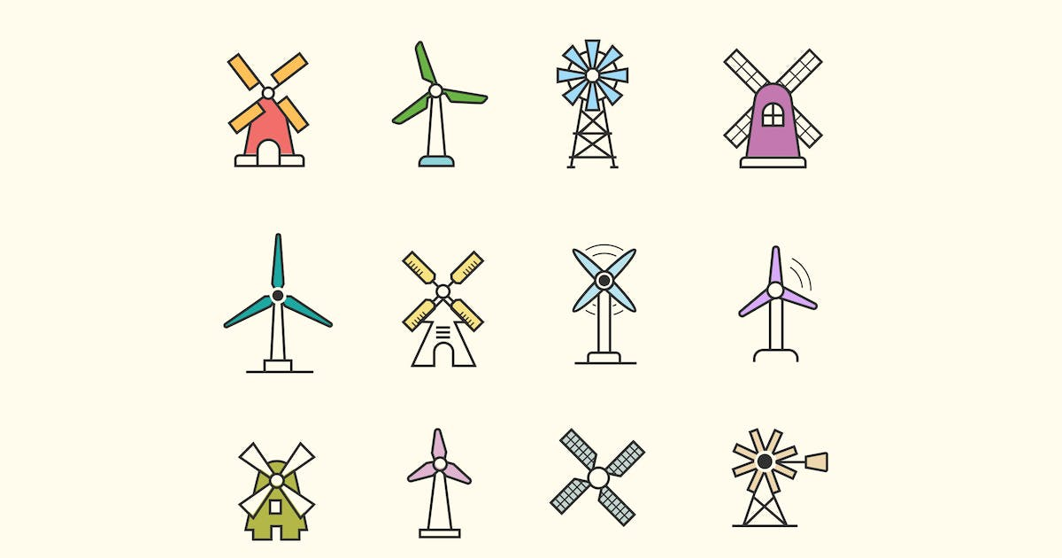 12 Windmill Icons by Unknow