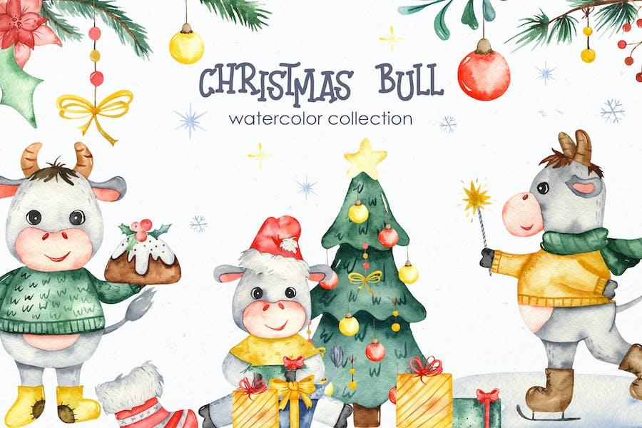 Watercolor Christmas bulls