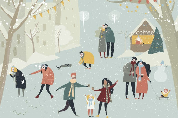 Thumbnail for Cartoon happy people enjoying in the winter snowin