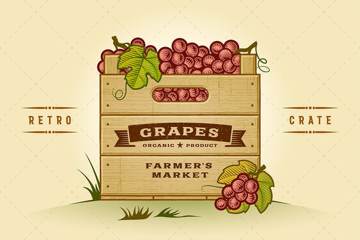Thumbnail for Retro Crate Of Grapes