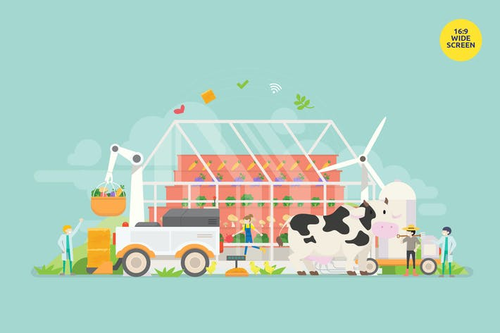 Thumbnail for Modern Farm Technology Vector Concept Illustration
