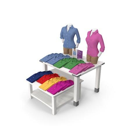 Womens Long Sleeved Shirt Display Tables