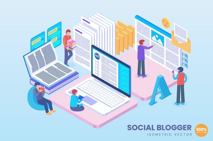 Isometric Social Blogger Concept