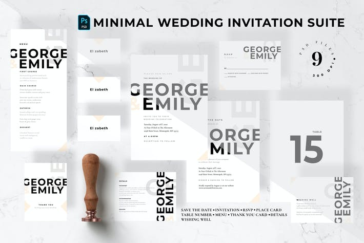 Thumbnail for Minimal Wedding Invitation Suite
