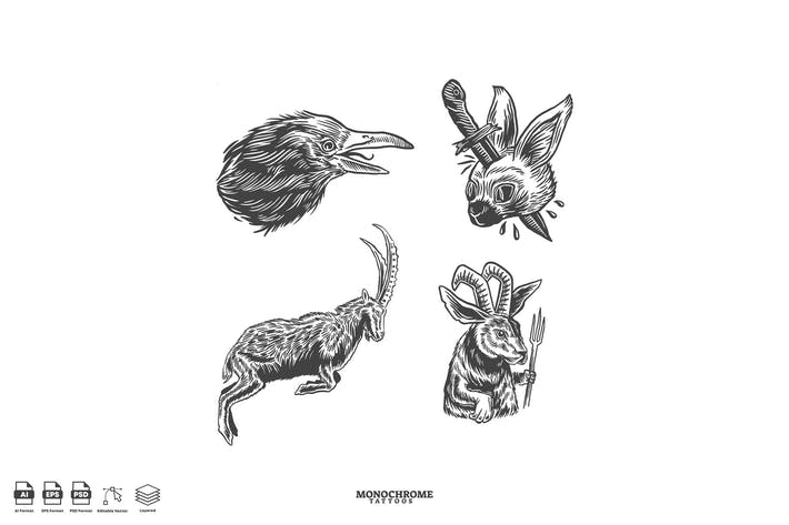 Einfarbige Tätowierungen Tiere Set