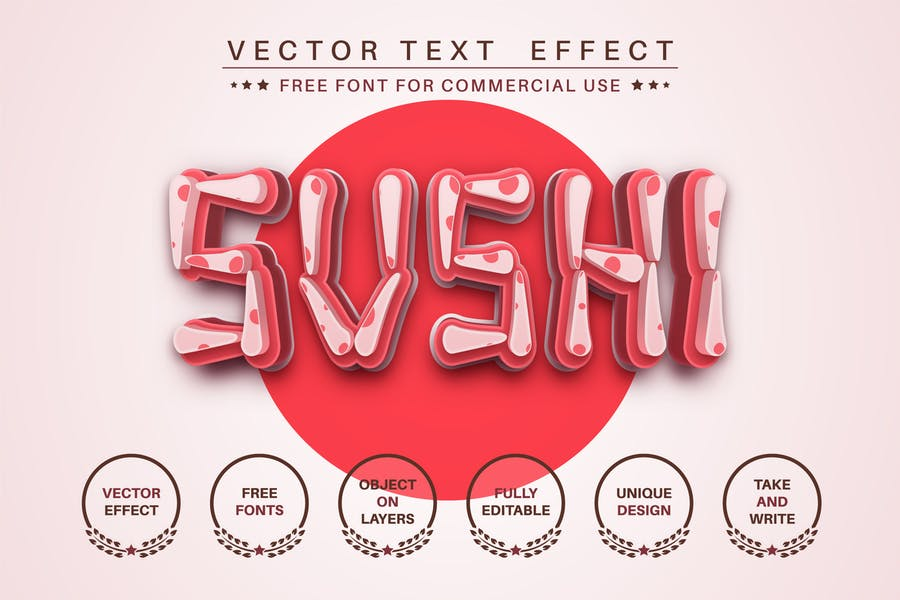 Sushi - editable text effect, font style