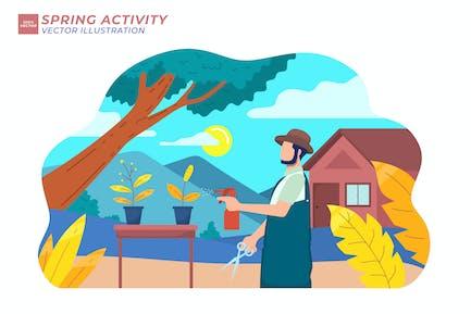 Frühjahrs-Aktivität Flache Abbildung