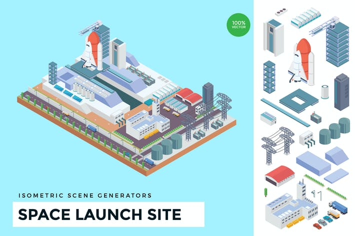 Thumbnail for Isometric Space Launch Site Vector Scene Creator