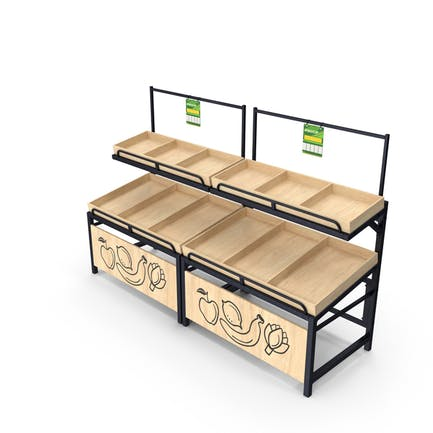 Wooden Fruit and Veggies Display Rack With Tag
