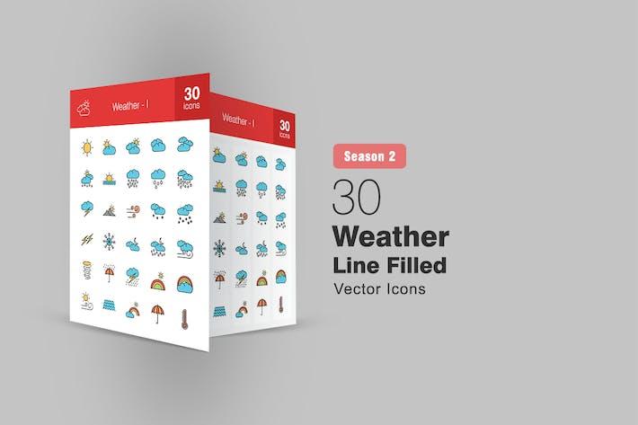 30 mit Wetter gefüllte Linie Icons Saison II