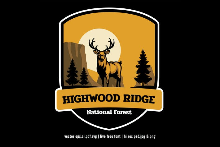 Thumbnail for national park forest badge logo with deer