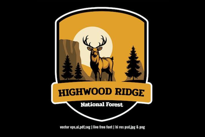 national park forest badge logo with deer