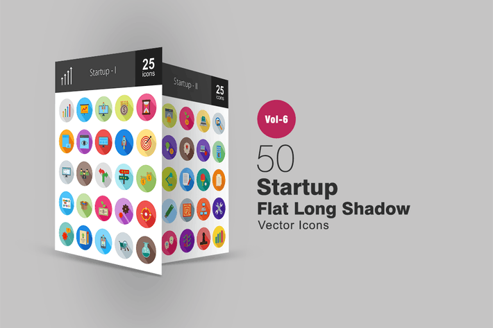 Thumbnail for 50 Startup Flat Shadowed Icons