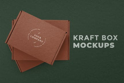 Kraft box packaging mockup with green background