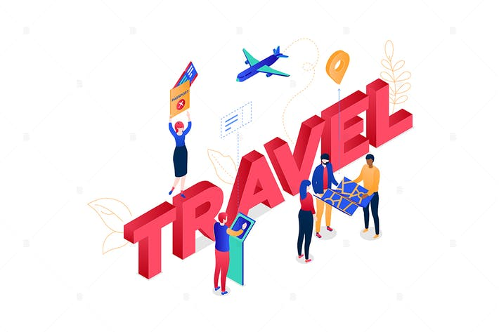 Thumbnail for Travel concept - isometric vector illustration