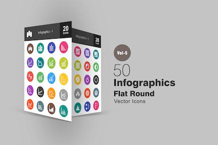 40 Infographics Flat Round Icons