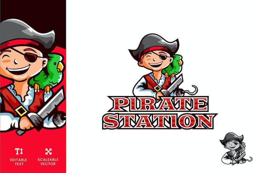 Pirate Station Playground Logo Illustration