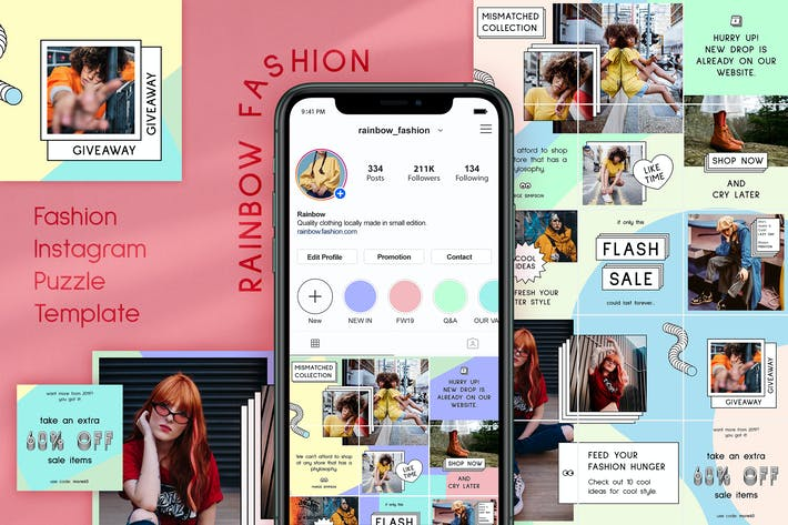 Thumbnail for Rainbow Fashion - Instagram Puzzle