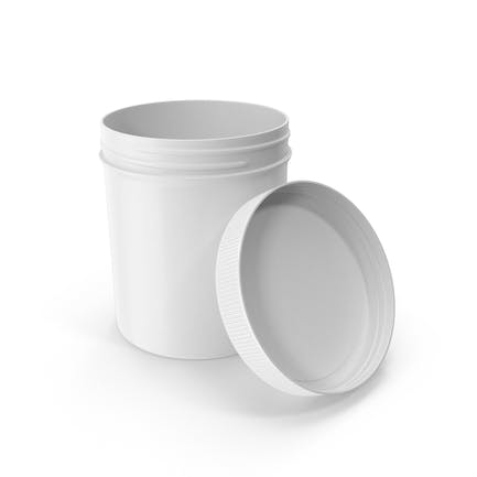 White Plastic Jar Wide Mouth Straight Sided 16oz Open