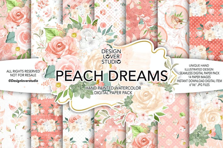Thumbnail for Watercolor PEACH DREAMS digital paper pack
