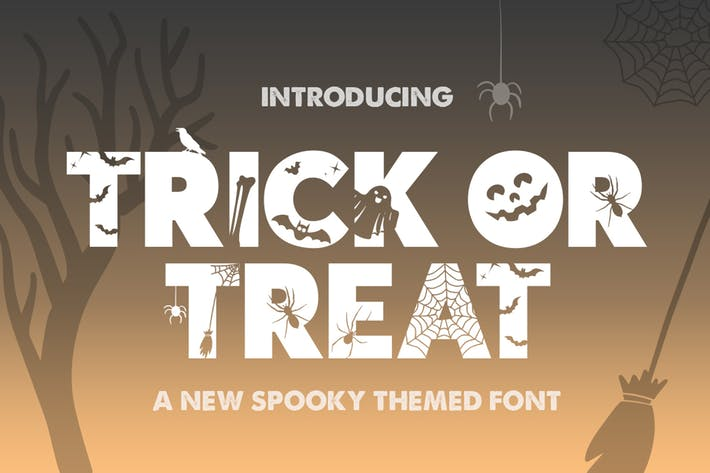 Thumbnail for Trick or Treat Silhouette Font